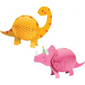 Dinosaur Girl Dino Decor Honeycomb Centrepieces
