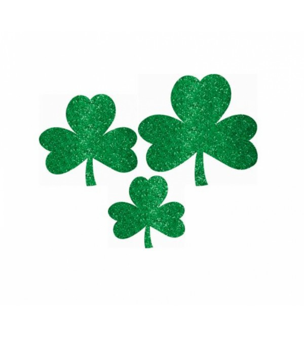 St Patrick's day Mini Assorted Shamrock Glittered Cutouts Pack of 10