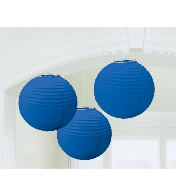 Round Bright Royal Blue Paper Lanterns Pack of 3