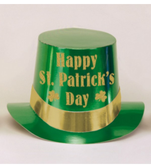 Green Foil Top Hat Happy St Patrick's Day Head Accessory