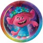Round Trolls World Tour Prismatic Dinner Plates 23cm Pack of 8