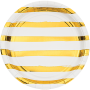 Round White & Gold Stripes Touch of Colour Dinner Plates 22cm Pack of 8