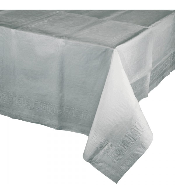 Shimmering Silver Tissue & Plastic Back Table Cover 137cm x 274cm
