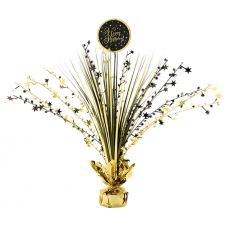 Black & Gold Happy Birthday Centrepiece 45cm