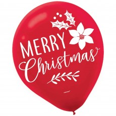 Teardrop Traditional Christmas Merry Christmas Latex Balloons 30cm Pack of 15