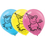 Teardrop Peppa Pig Latex Balloons 30cm Pack of 6