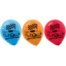 Teardrop Multi Coloured Hot Wheels Race Car Happy Birthday Latex Balloons 30cm Pack of 6