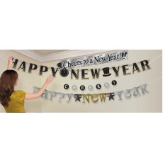Black, Silver & Gold Letter Happy New Year Banners Pack of 4