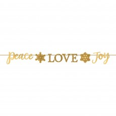 Gold Christmas Ribbon Peace Love Joy Banner 15cm x 3.65m