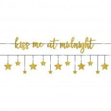 New Year Stars Glittered Ribbon Kiss Me At Midnight Banners Pack of 2
