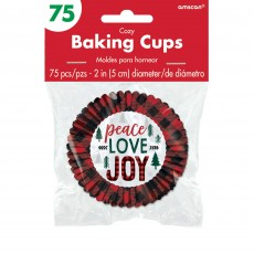 Christmas Cozy Holiday Peace Love Joy Cupcake Cases Pack of 75