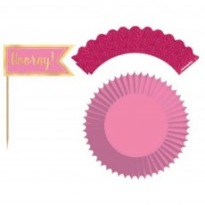 Pink Glittered Paper Wraps, Foil & Hot Stamped Picks & Cupcake Cases Pack of 24