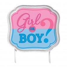 Gender Reveal Plastic Girl or Boy? Cake Topper 11cm