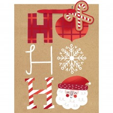 Christmas Party Supplies - Favour Bag Med Gift Bag & Gift Tag Ho Ho Ho