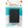 Glitter Black Large Spiral Candles 8cm Pack of 24