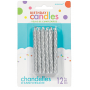 Glitter Silver Large Spiral Candles 8cm Pack of 12