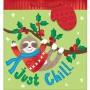 Christmas Party Supplies - Favour Bag Sloth L Gift Bag & Gift Tag