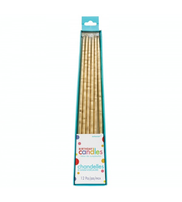 Gold Long Thin Taper Candles 25cm Pack of 12