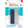 Metallic Silver & Blue Glitter Candles 8cm Pack of 12