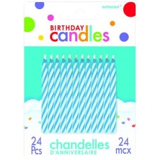 Candy Blue Dots & Stripes Candles Pack of 24