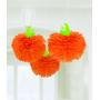 Modern Halloween Tissue Paper Fluffies Pumpkin Hanging Decorations 40cm Pack of 3