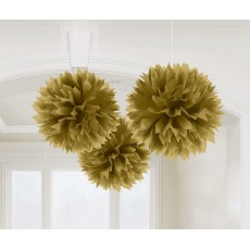 Gold Fluffy Tissue Hanging Decorations 40.6cm Pack of 3