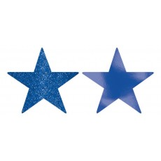 Bright Royal Blue Foil & Glitter Star Cutouts 12cm Pack of 5