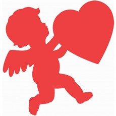 Red Valentine's Day Cupid Glossy Cutout 27cm
