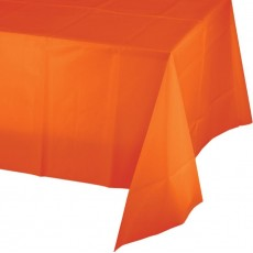 Sunkissed Orange Plastic Table Cover 137cm x 274cm