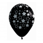 Teardrop Fashion Black METALink Bold Stars Latex Balloons 30cm Pack of 12