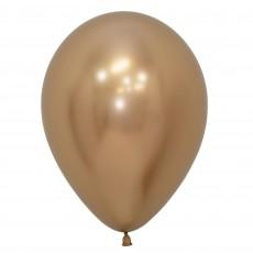 Metallic Reflex Gold Latex Balloons 30cm Pack of 12