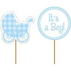 Baby Shower - General Cake Picks Blue Pack of 12