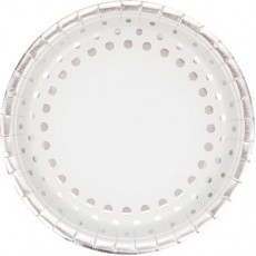 Round Silver Sparkle & Shine Dinner Plates 23cm Pack of 8