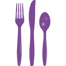 Purple Cutlery Sets For 8 Guests Amethyst Purple Pack of 24