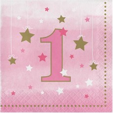 Girl One Little Star Lunch Napkins 33cm x 33cm No. 1 Pack of 16