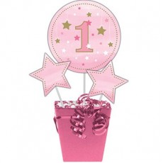 Girl One Little Star Stars & No. 1 Sticks Centrepieces Pack of 3