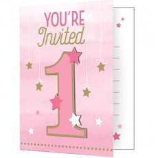 Girl One Little Star Invitations 13cm x 10cm Pack of 8