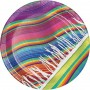 Round Mexican Fiesta Serape Paper Dinner Plates 22cm Pack of 8