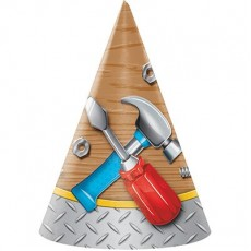 Handyman Tools Party Hats 16cm x 11cm Pack of 8