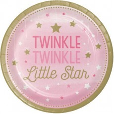 Girl One Little Star Lunch Plates 18cm Twinkle Twinkle Paper Pack of 8