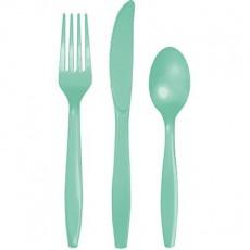 Fresh Mint Green Celebrations Plastic Cutlery Sets Pack of 18