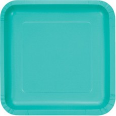 Square Teal Lagoon Green Paper Dinner Plates 23cm Pack of 18