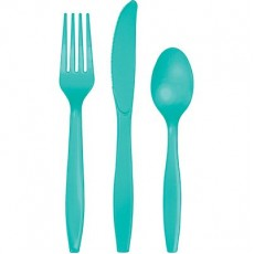 Teal Lagoon Green Plastic Cutlery Sets Pack of 24