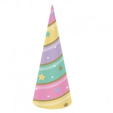 Unicorn Sparkle Party Hats 18cm Pack of 8 Horn Shaped