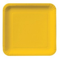 Square School Bus Yellow Paper Lunch Plates 18cm Pack of 18