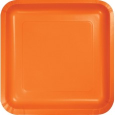 Square Sunkissed Orange Paper Lunch Plates 18cm Pack of 18