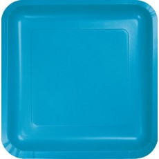 Square Turquoise Blue Paper Dinner Plates 23cm Pack of 18