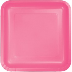 Square Candy Pink Paper Dinner Plates 23cm Pack of 18