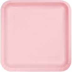 Square Classic Pink Paper Dinner Plates 23cm Pack of 18