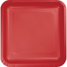 Square Classic Red Dinner Plates 23cm Pack of 18